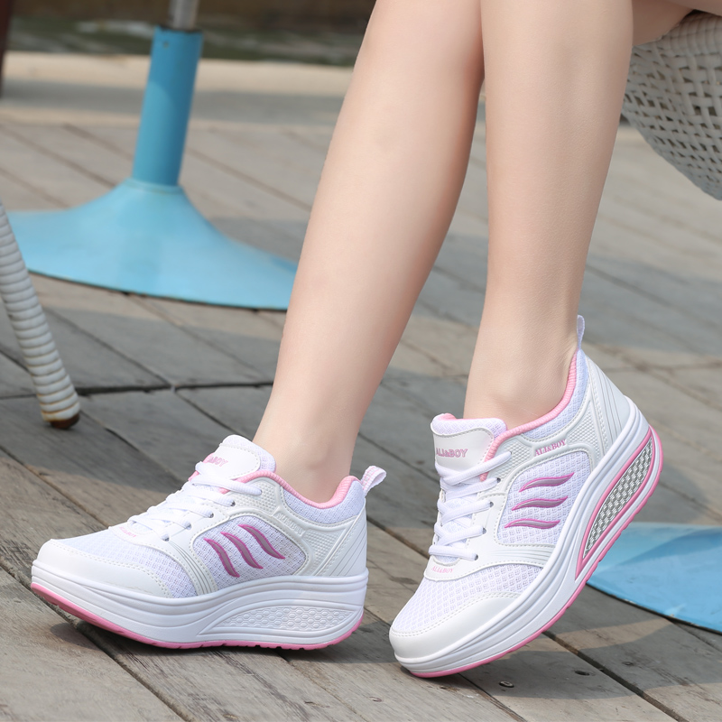 Autumn and winter new thick sole rocking shoes authentic dancing shoes white leisure sports women square dance comfortable travel shoes