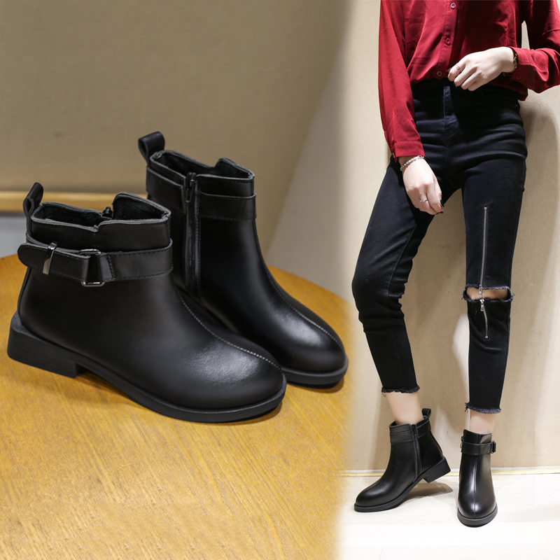 Fall / winter 2019 womens boots, Europe, America, England fashion, Chelsea boots, short boots, round head, medium heel and thick heel 101