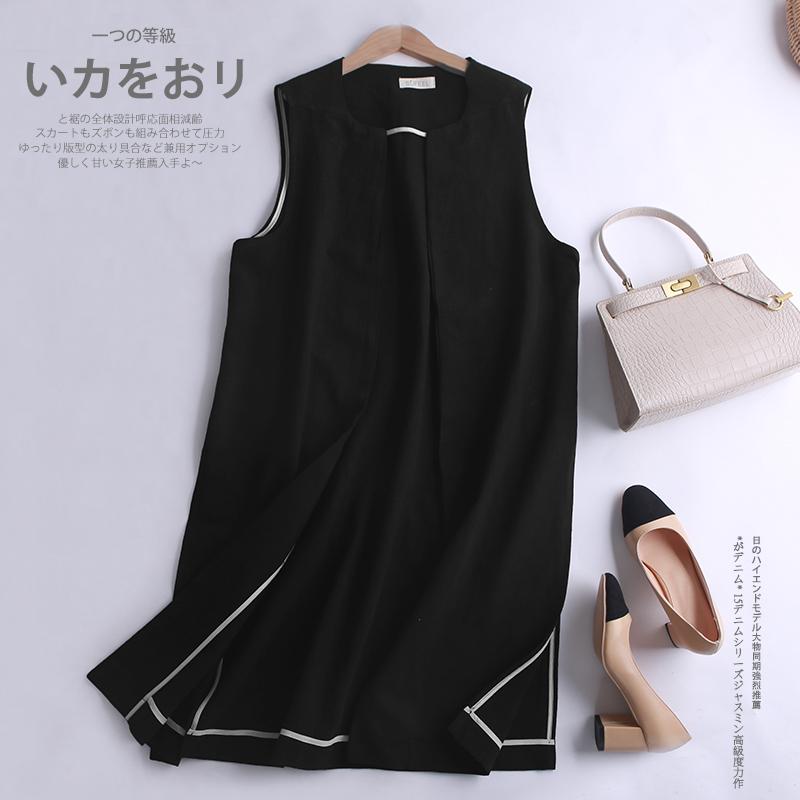 New spring and summer 100% pure linen medium length vest fashionable versatile loose sleeveless coat split solid color vest