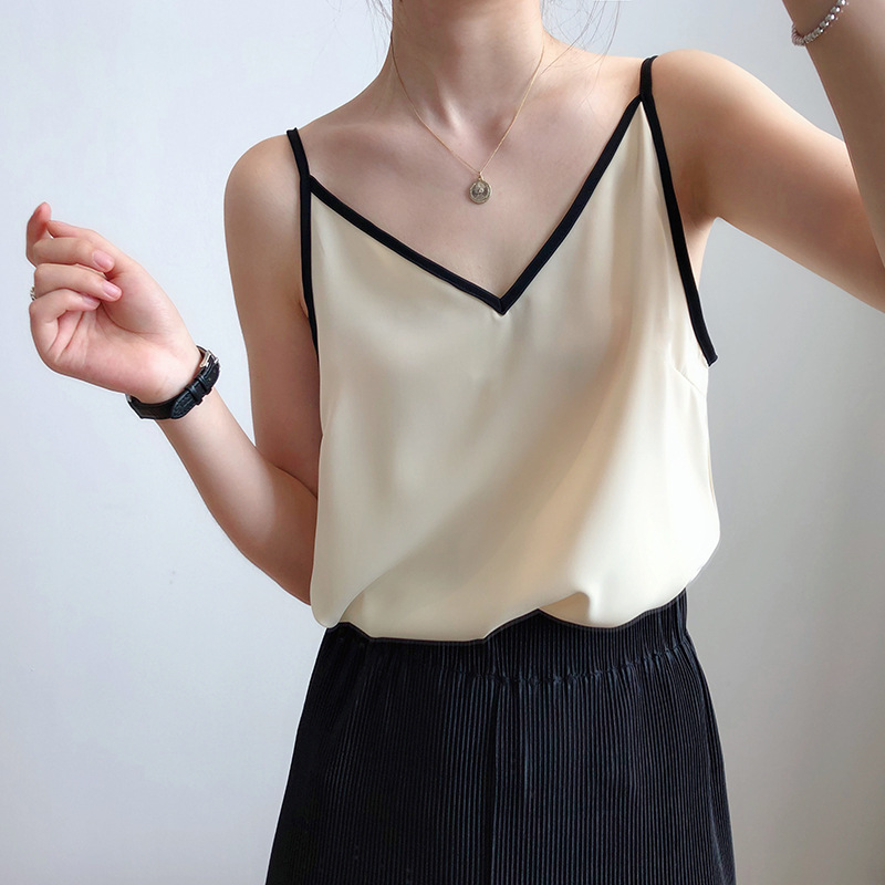 Suspender vest womens spring and summer retro simple silk satin V-neck sleeveless top, sexy outer wear bottoming shirt