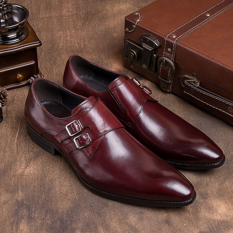 Genuine fashion British mens pointed leather shoes double buckle leather European wedding partner bridegroom monk Meng