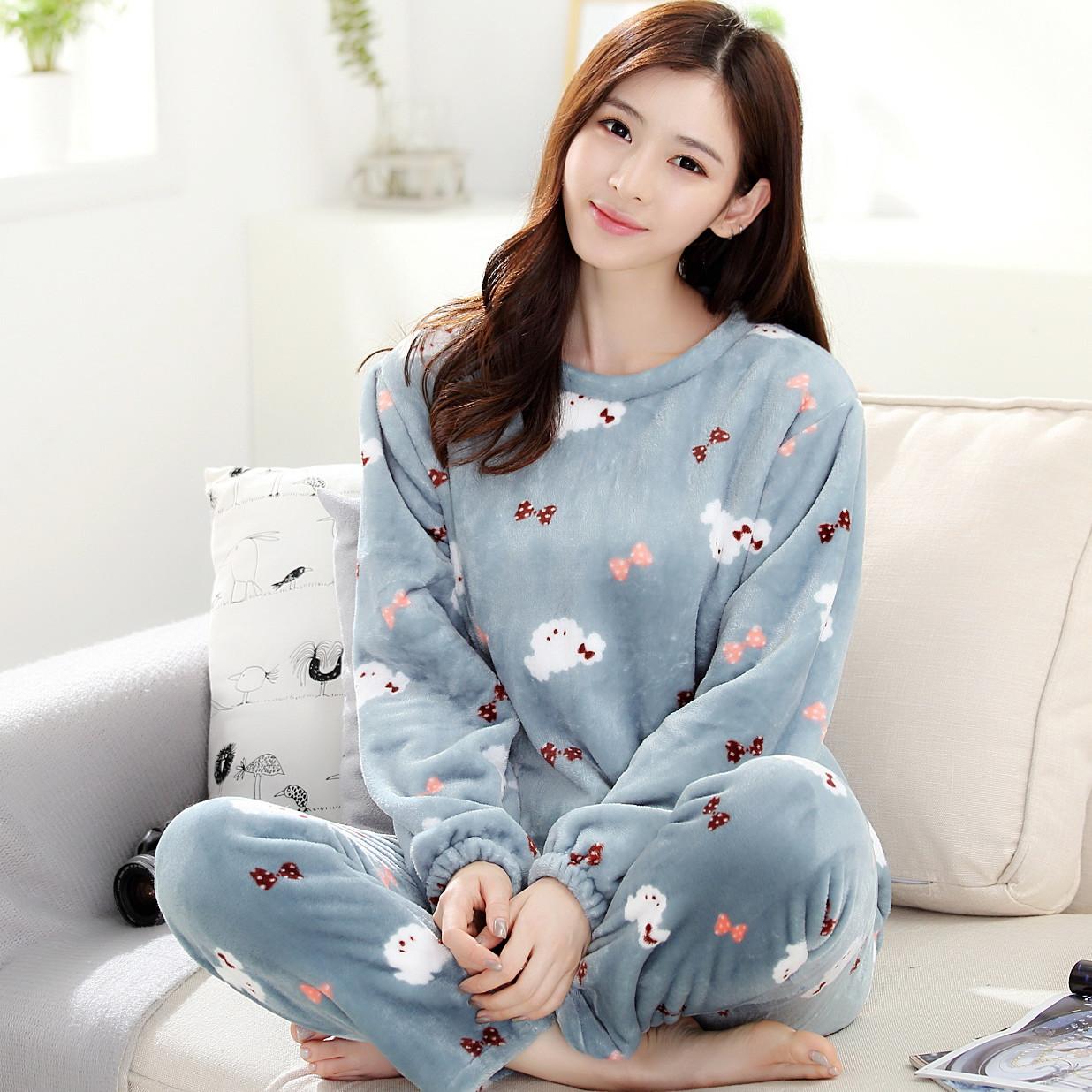 天天特价珊瑚绒睡衣套装女士套头法兰绒家居服加厚可爱韩版长袖