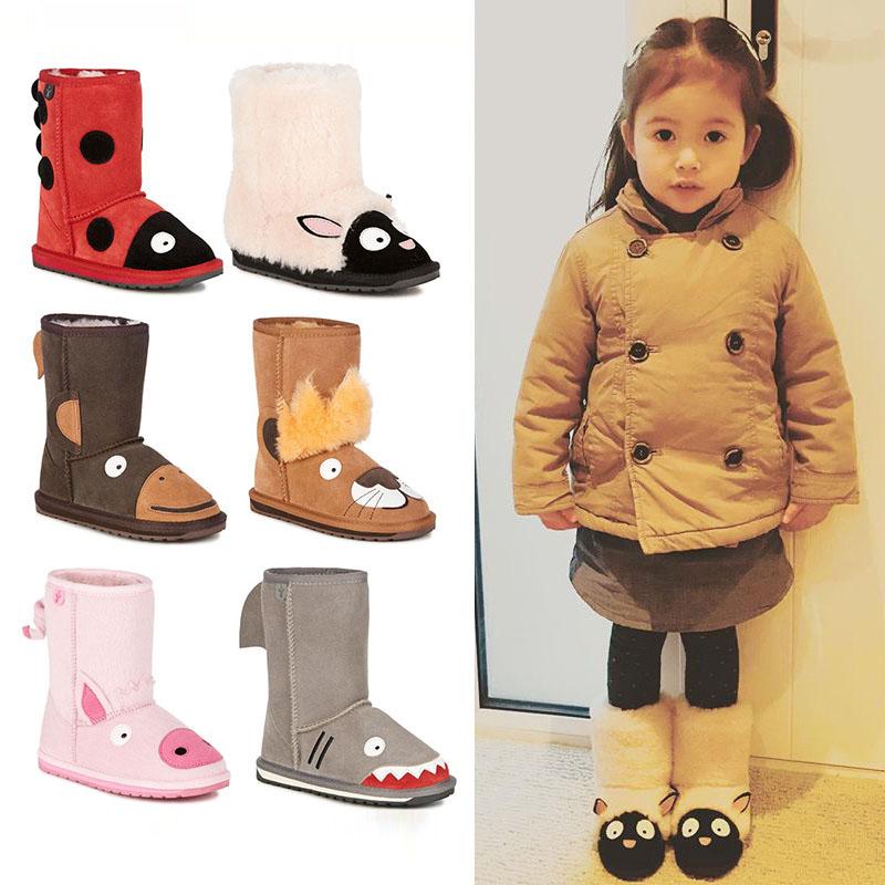 澳洲EMU男女儿童宝宝动物羊毛加绒雪地靴踩雪冬现货正品授权棉鞋
