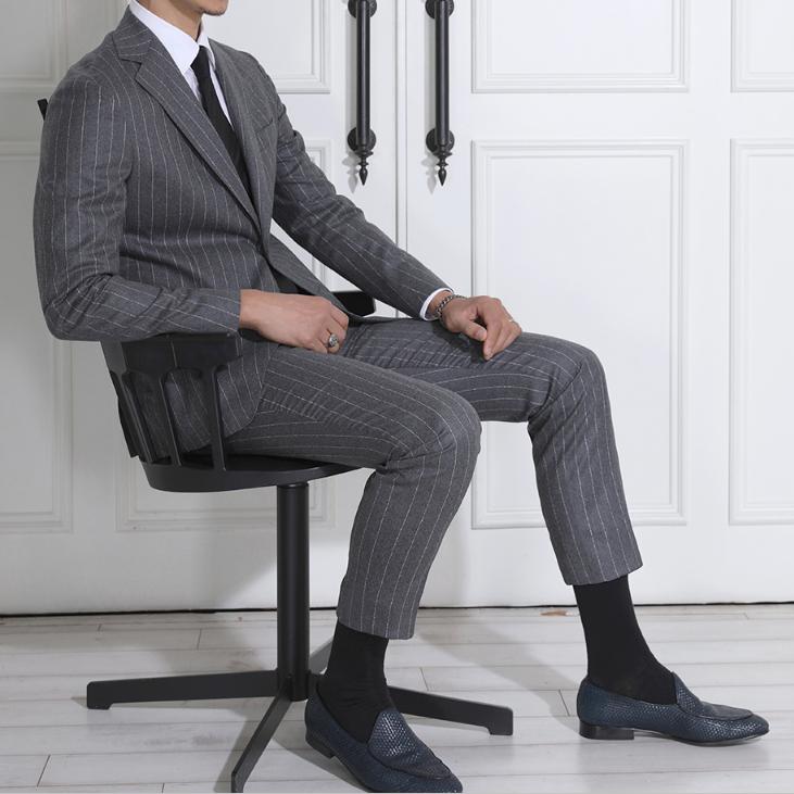 Korean genuine striped Wool Fashion temperament slim fit mens suit wedding dress suit business suit