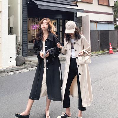 2020流行风衣女中长款韩版宽松学生大衣女小个子春秋天外套休闲