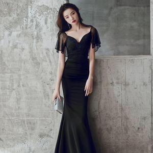 鱼尾晚礼服裙女新款高定宴会黑色高端长款连衣裙轻奢名媛气质高级