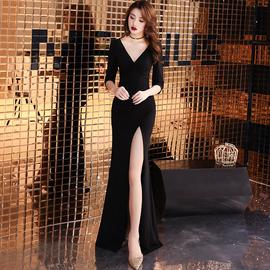 年会晚礼服裙女2020新款高端宴会连衣裙气场女王长款气质黑色性感