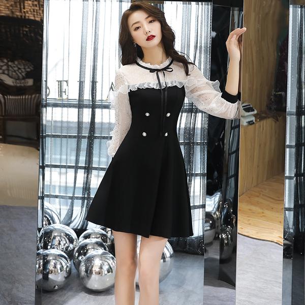 小礼服女宴会气质显瘦夏天平时可穿洋装黑色生日派对约会裙连衣裙图片