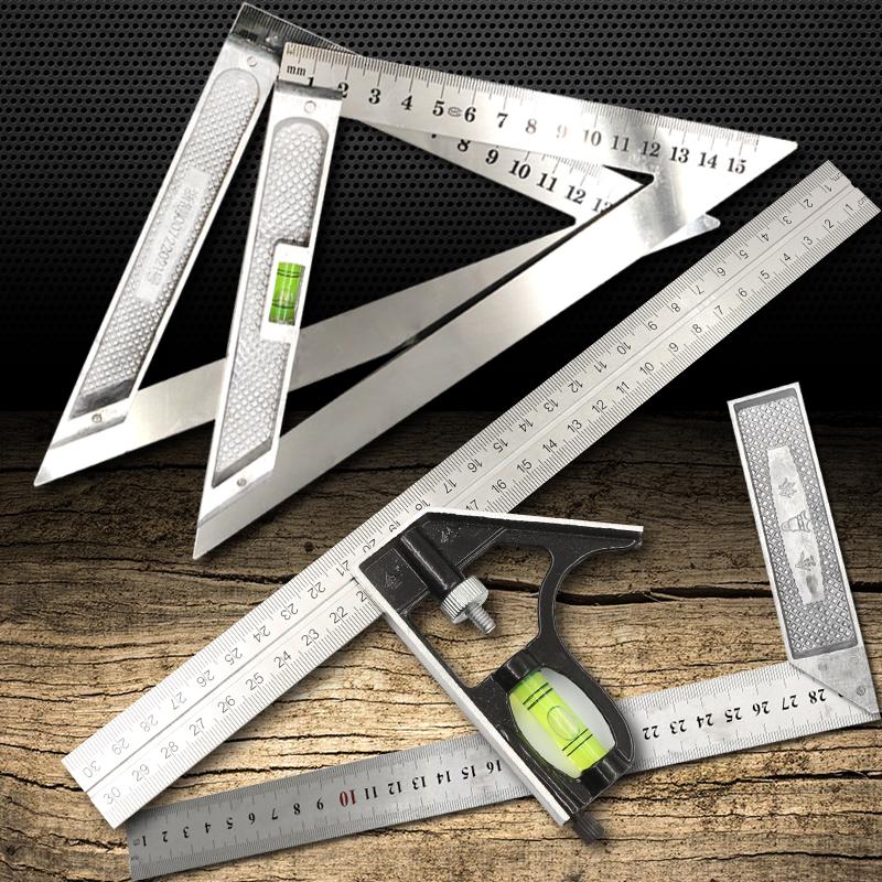 木工尺子 45度90度直角尺角度钢板尺L型拐尺带水平三角尺测量靠尺