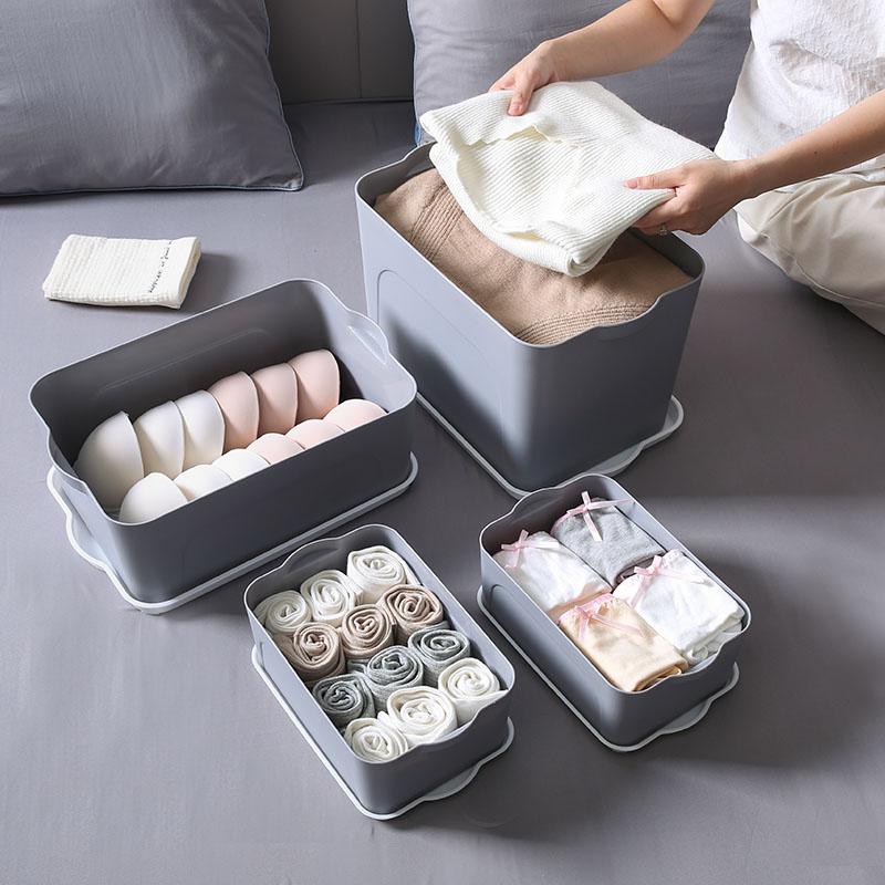 (用10元券)塑料收纳箱四件套有盖家用衣服整理箱衣橱家用中号杂物书本储物盒