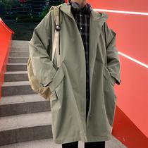 风衣外套男士2020秋季韩版ins潮流连帽工装中长款宽松英伦大衣服