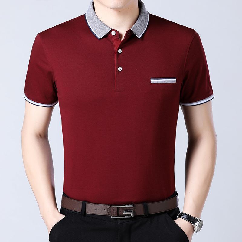 男士短袖t恤带领气质宽松潮流有领中年POLO衫冰丝光棉粉色上衣土