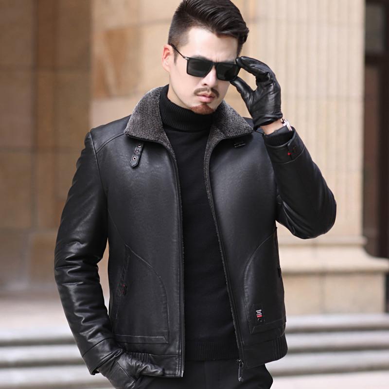 新款男士秋冬季韩版修身皮羽绒服男时尚休闲保暖厚羽绒皮衣外套