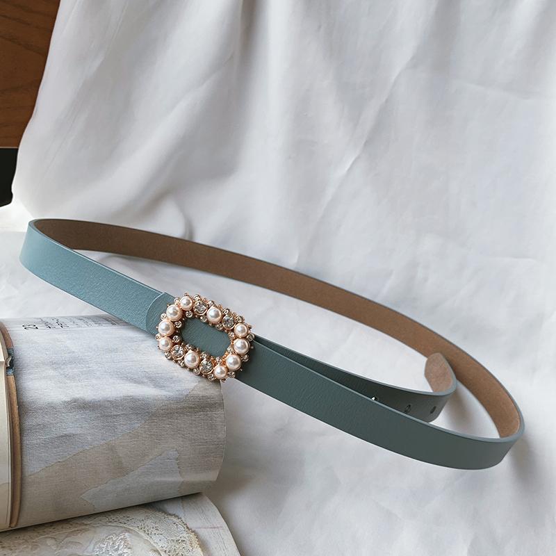 韩国复古珍珠镶钻真皮女装饰细腰带