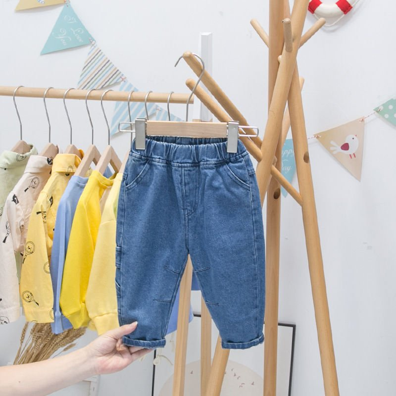 High quality 0 Childrens 1 jeans 2 spring and autumn 2021 new 3-year-old boys autumn baby
