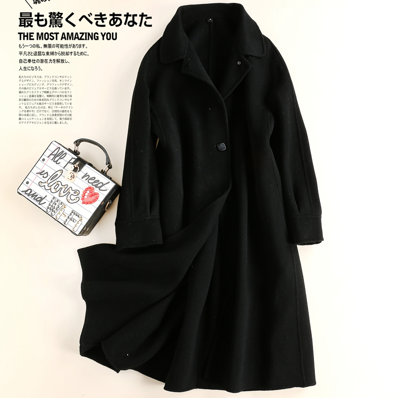Brand womens clothing autumn and winter 2020 new woollen fabric medium length double faced zero cashmere coat loose coat