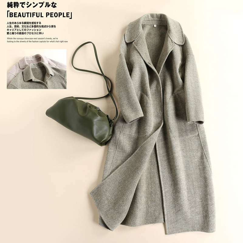 Brand womens clothing autumn and winter 2020 new woollen cloth medium length double faced cashmere coat cocoon coat