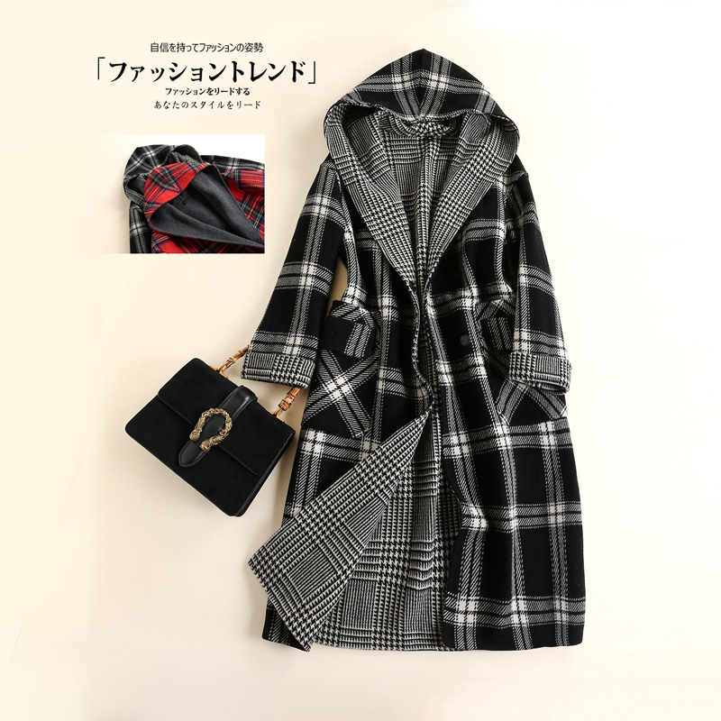 Brand womens clothing new winter 2020 wool MEDIUM LENGTH PLAID double faced zero cashmere coat loose hooded coat