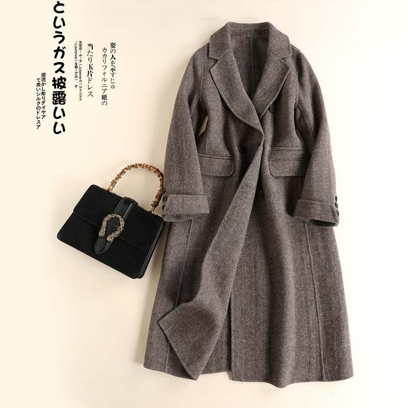 Brand womens clothing new style woollen cloth mid length double faced zero cashmere coat double breasted coat