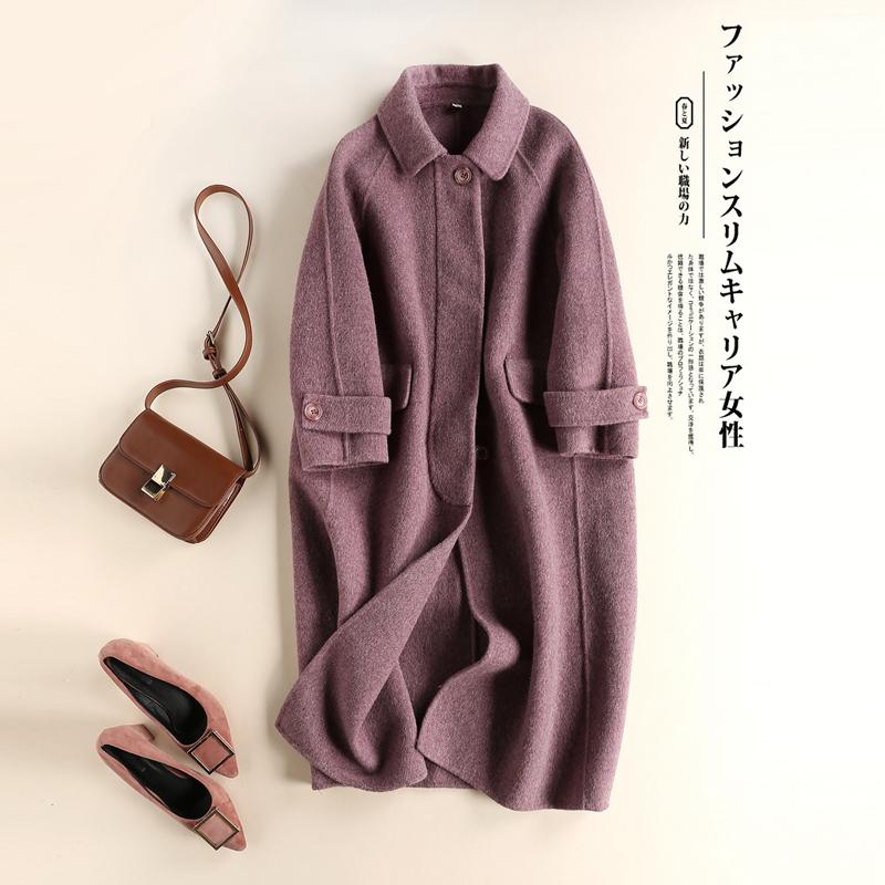 Brand womens clothing autumn and winter 2020 new woollen fabric medium length double faced zero cashmere coat slim coat