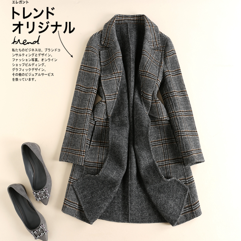 Brand womens clothing new mid long Plaid double faced cashmere coat double breasted coat