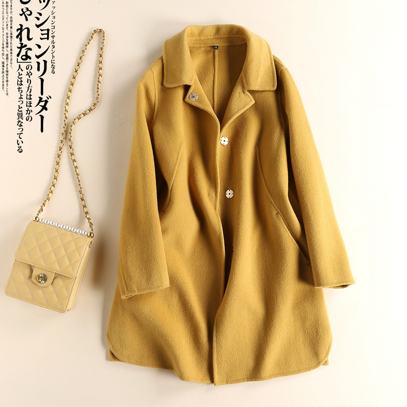 Brand womens clothing fall / winter 2020 Korean new woollen fabric slim double faced zero cashmere coat