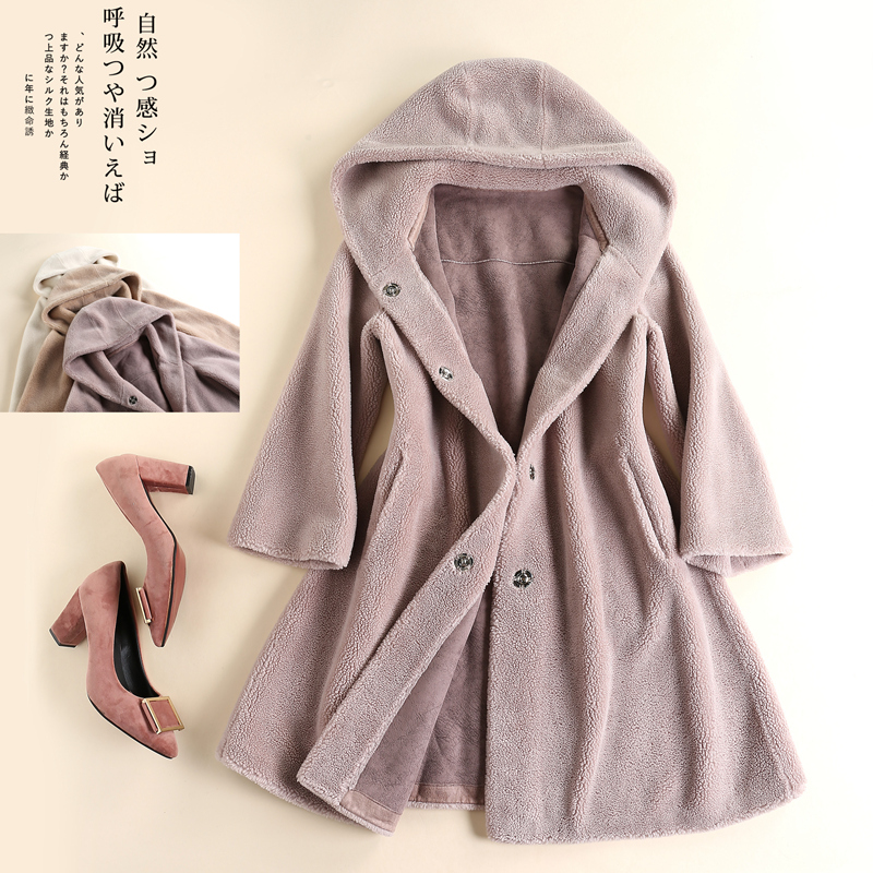 Brand womens clothing autumn and winter 2020 new grain sheep shearing fur imitation one body Hooded Coat medium length coat