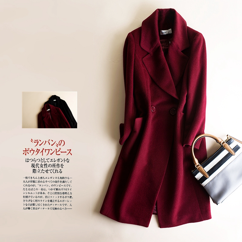 Off code clearance special offer autumn and winter new slim woollen coat medium length zero cashmere coat