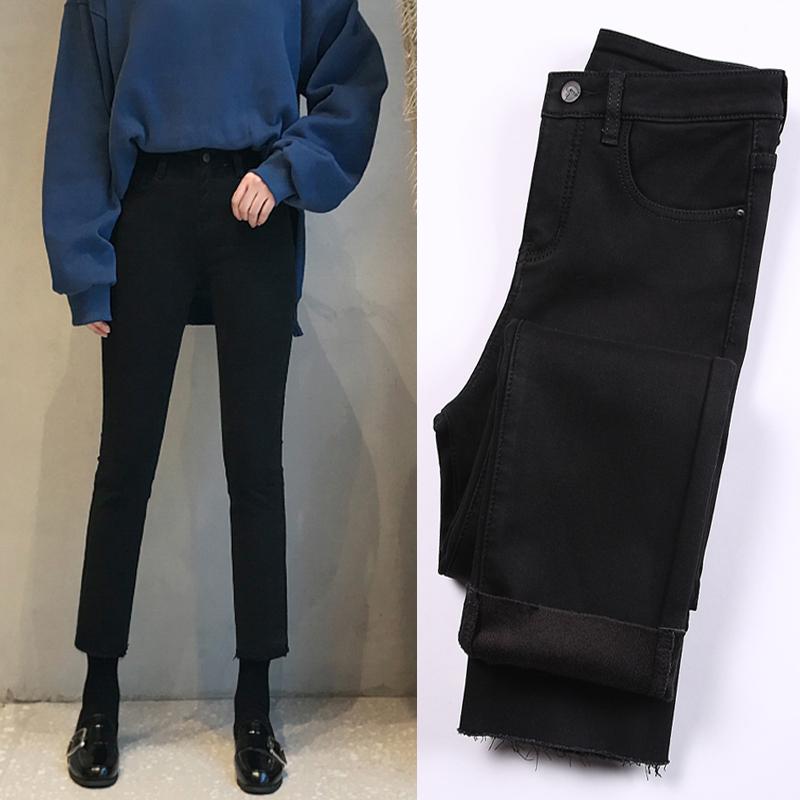 黑色牛仔裤女2020春季高腰显瘦九分裤泫雅加绒宽松阔腿直筒裤春装