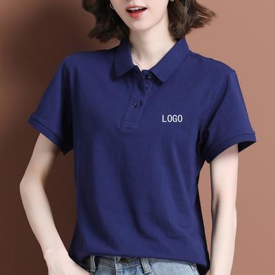 纯棉短袖t恤衫定制印logo男女情侣装翻领工作服运动休闲体恤上衣