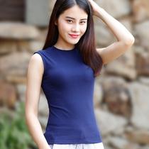 无袖上衣女夏2021新款 小高领藏蓝色掉带背心外穿立领纯色棉质T恤