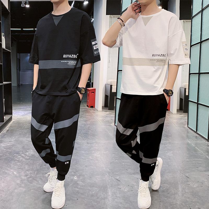 短袖t恤套装男2020新款一套宽松潮流潮牌百搭男装搭配半袖衣服潮