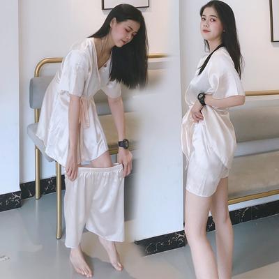 冰丝睡裙女夏季甜美可爱公主风V领日系和服系绳连衣裙两件套睡衣