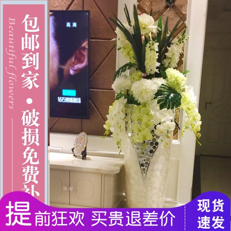 玻璃鋼貝殼落地大花瓶花器仿真花藝套裝歐式客廳家居酒店飾品擺件