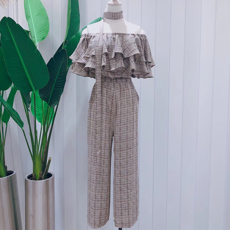 2018 summer Plaid Jumpsuit with one line shoulder and leaf edge for womens summer wide leg lace up
