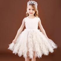 女童连衣裙夏薄洋气宝宝蕾丝花边背心裙不规则网纱裙小女孩公主裙