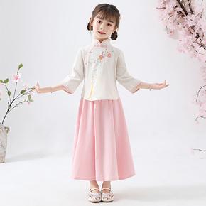 女童汉服儿童古装棉麻唐装童装夏装短袖小女孩超仙民国中国风古风