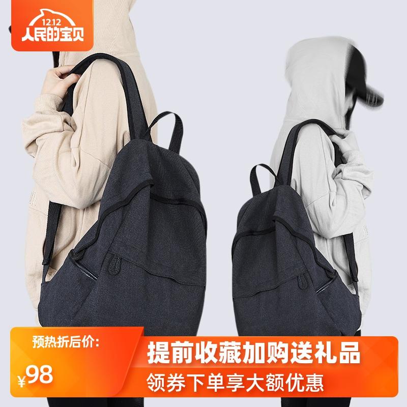 背包男休闲简约黑色百搭帆布大容量旅行双肩包女新款时尚学生书包