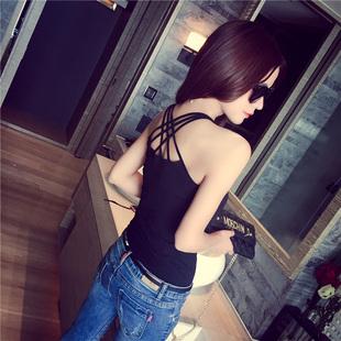 夏季百搭白黑色性感吊帶背心女士外穿短款修身無袖掛脖露肩打底衫