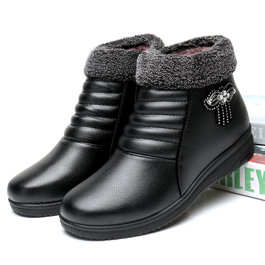 冬鞋保暖妈妈棉鞋女中老年人短靴女老...