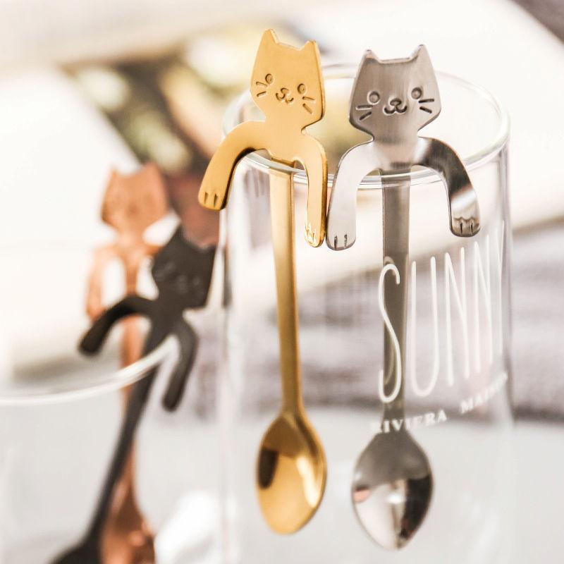 不锈钢创意可挂式迷你卡通猫咪韩式儿童吃饭搅拌甜品咖啡勺子少女图片