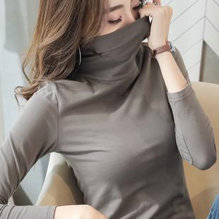 堆堆領打底衫女內搭半高領長袖t恤女裝秋冬緊身學生洋氣純棉上衣
