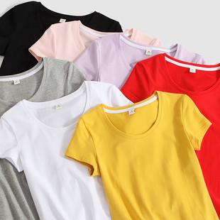 纯棉白色短袖t恤女2019新款夏装紧身ins半袖韩范上衣黑体恤修身潮