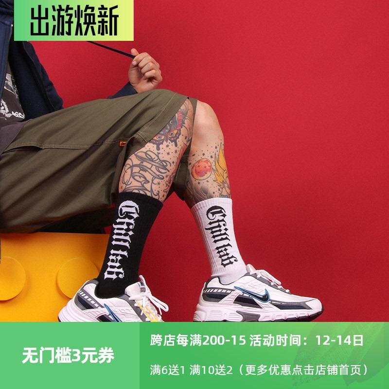 CHILL LAB哥特字体hiphop滑板潮袜男女 欧美街头配老爹鞋中长筒袜