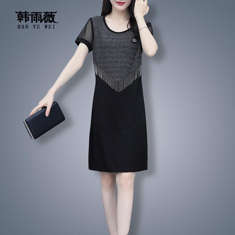 大码直筒连衣裙2021年早春新款夏四十岁女装减龄显瘦遮腹裙子洋气