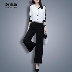 大码女装套装2020年新款秋冬季时尚洋气高端气质减龄显瘦两件套