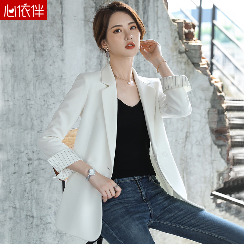 White suit jacket female spring and autumn 2021 new Slim ladies blouse casual spring small child suit suit