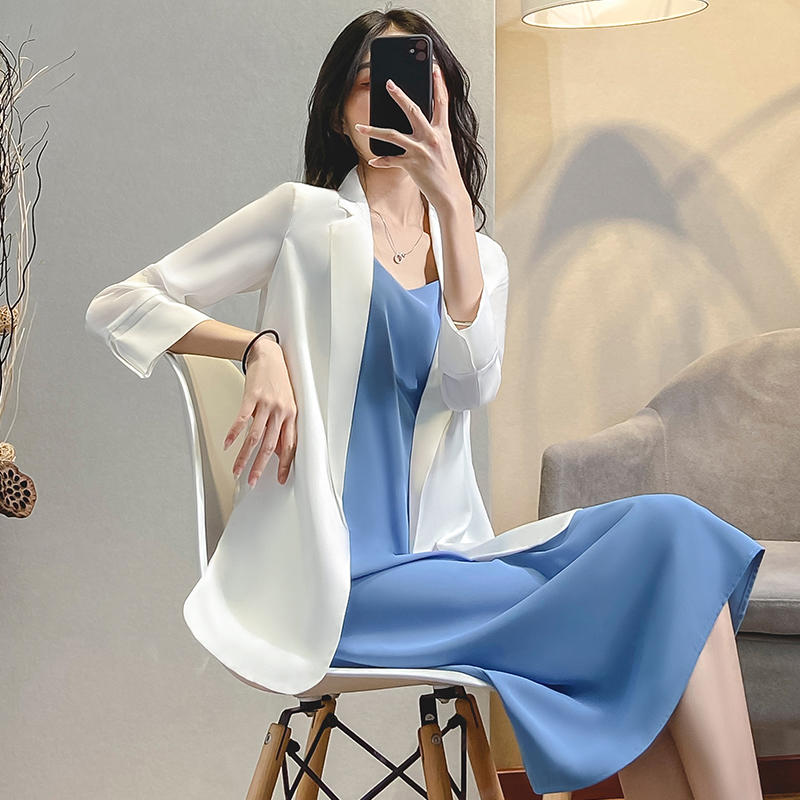 Suit jacket female summer 2021 new design sexy small casual chiffon small suit set white summer thin section