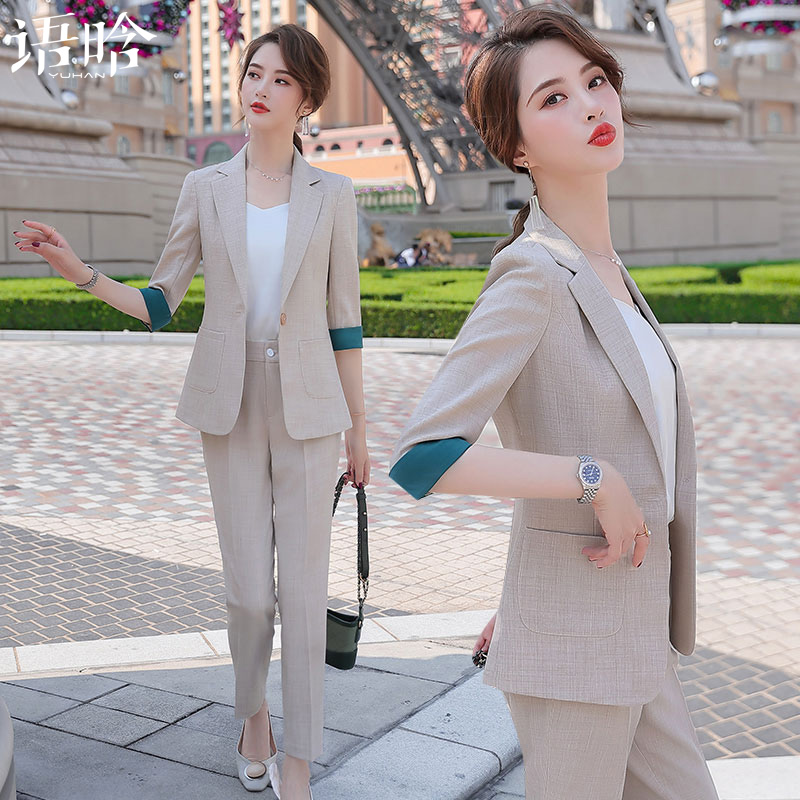 Small suit set female summer 2021 new spring and summer fashion professional small son ladies summer suits coat thin section