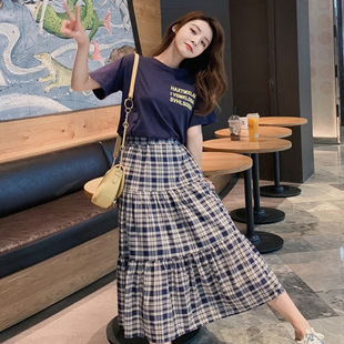 洋氣套裝裙夏季新款韓版短袖寬鬆T恤上衣高腰格子半身裙兩件套女